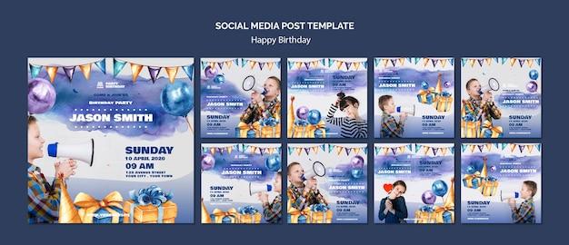 Modello di post social media con festa di compleanno Psd Gratuite
