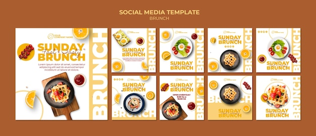 Social media post template with brunch theme Free Psd
