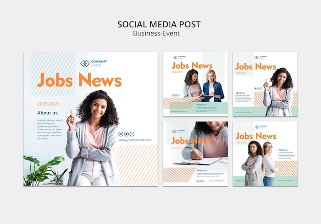 Social media post template with business woman concept Free Psd