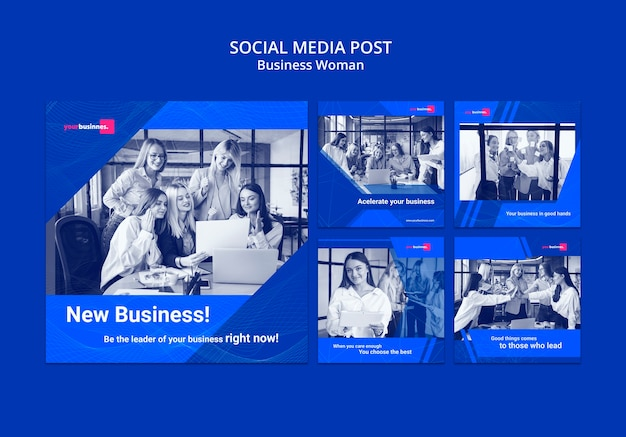 Social media post template with business woman Free Psd