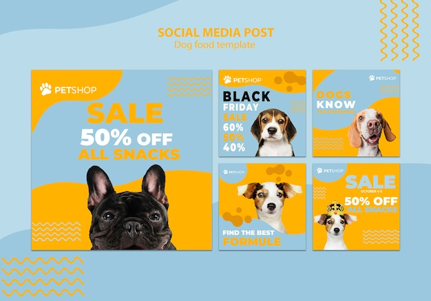 Social media posttemplate with dog food Free Psd