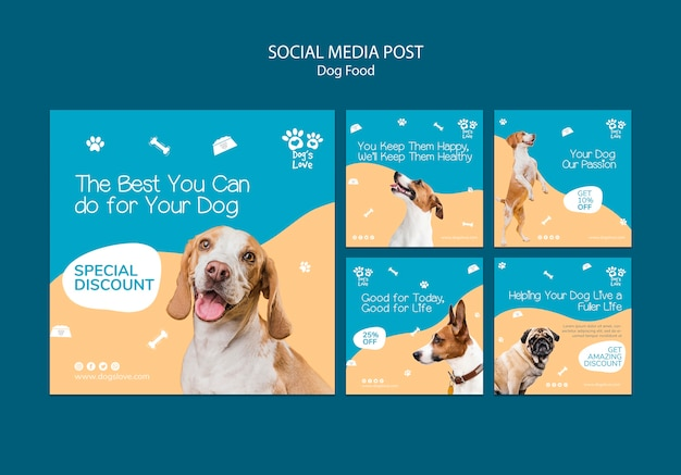 Social media post template with dog food Free Psd