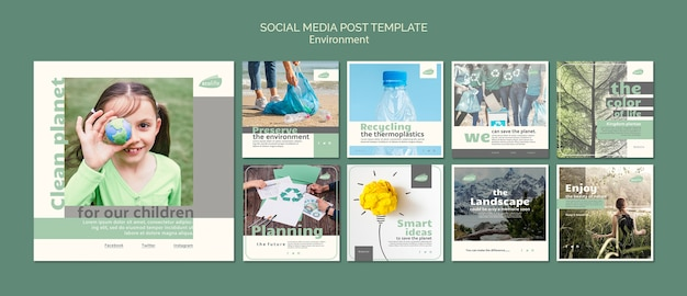 Social media post template with environment theme Premium Psd