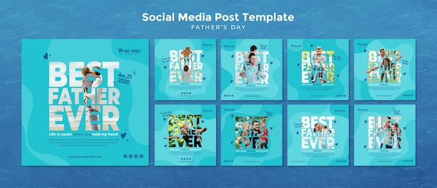 Social media post template with fathers day Free Psd
