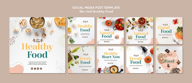 Social media post template with healthy food Free Psd