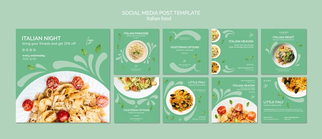 이탈리아 음식으로 소셜 미디어 게시물 템플릿 프리미엄 PSD 파일