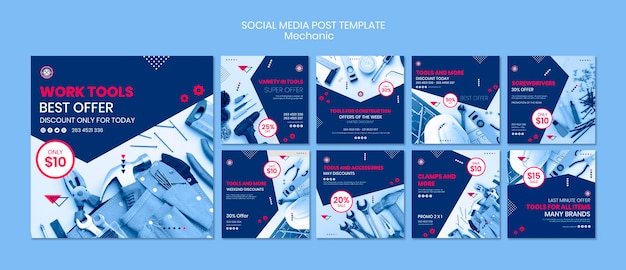 Social media post template with mechanic theme Free Psd