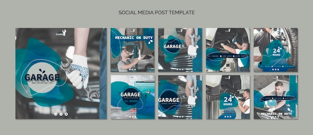 Social media post template with mechanic Free Psd