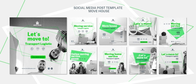 Social media post template with moving service Free Psd