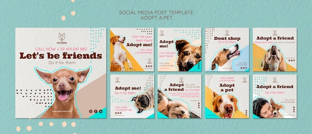 Social media post template with pet adoption Free Psd