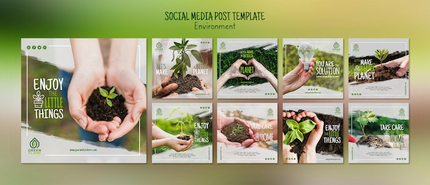 Social media post template with save the planet Free Psd