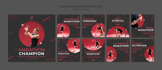Social media post template withsport and tech Free Psd