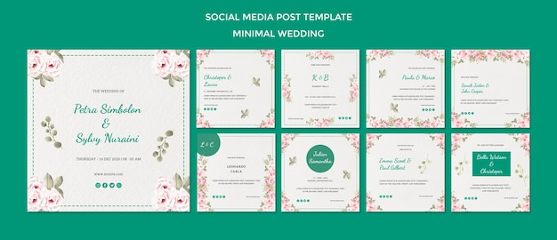 Social media post template with wedding Premium Psd