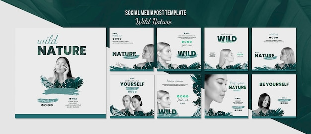 Social media post template with wild nature concept Free Psd