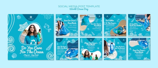 Social media post template with world ocean day Free Psd