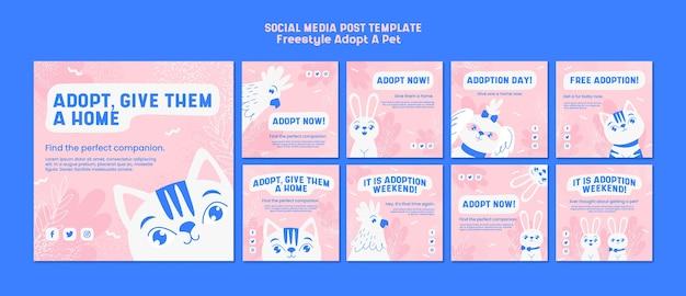 Пост в социальных сетях с концепцией принятия питомца Бесплатные Psd