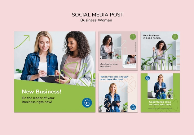 Social media post with business woman Free Psd