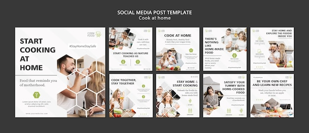 Social media post with cooking at home Free Psd