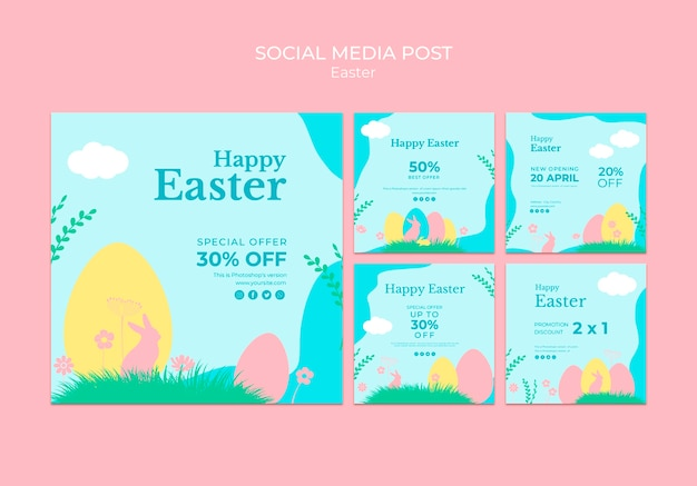 Social media post with easter sale Free Psd