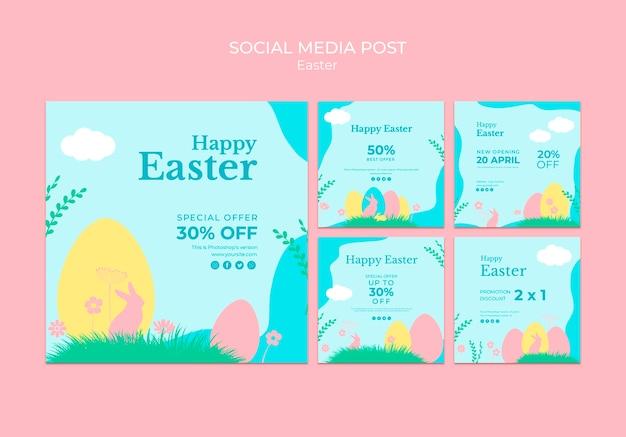 Posta di media sociali con vendita di pasqua Psd Gratuite