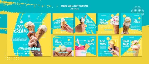 Пост в социальных сетях с мороженым Premium Psd