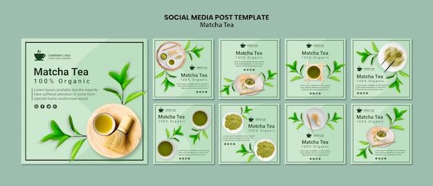 Social media post with matcha tea concept Free Psd
