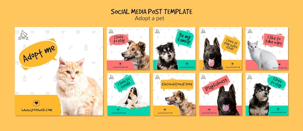 Social media post with pet adoption Free Psd