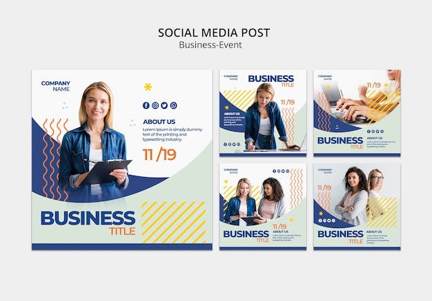 Social media posts for corporate template Free Psd