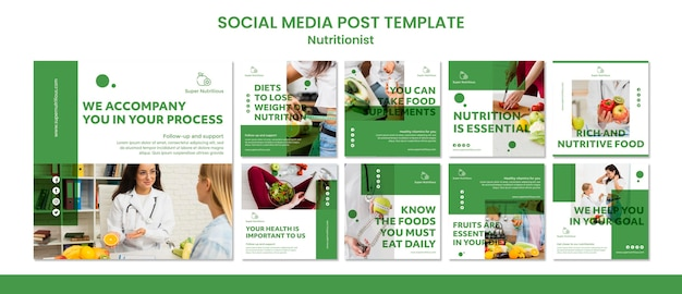 Social media posts templates with nutritionist advice Free Psd