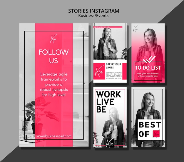 Social media stories for business events Free Psd
