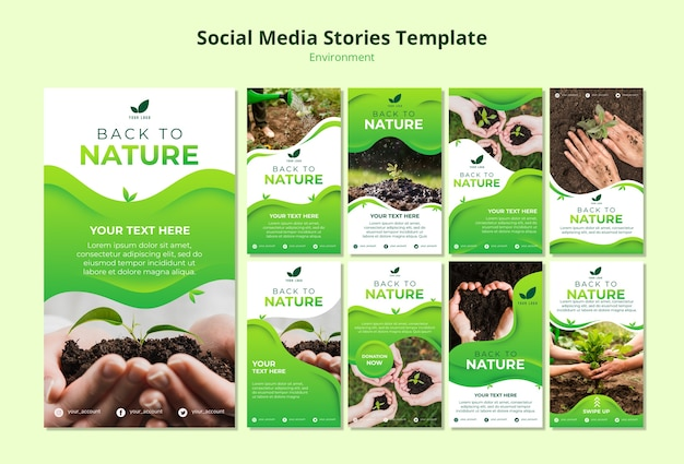 Social media stories template of nature Free Psd