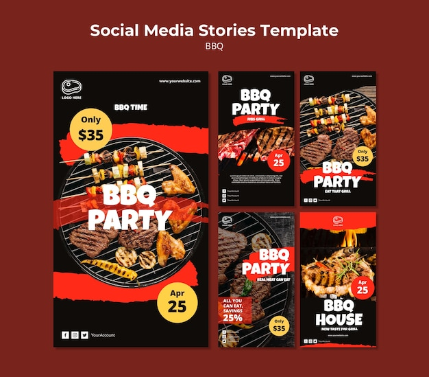 Social media stories template with barbeque Free Psd