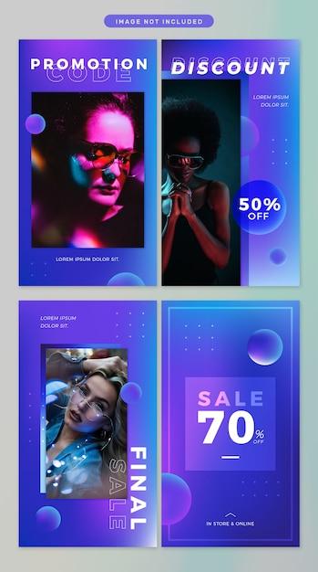 Social media story in neon theme Premium Psd