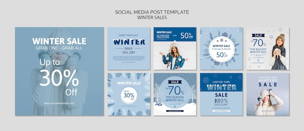 Social media template pack with sales Free Psd