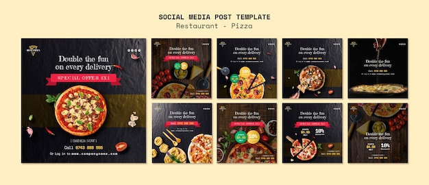 Social media template for pizza restaurant Free Psd