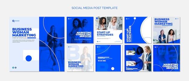 Социальные медиа шаблон сообщения с деловой женщиной Premium Psd