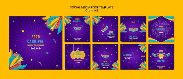 Шаблон социальных медиа с карнавальной темой Бесплатные Psd