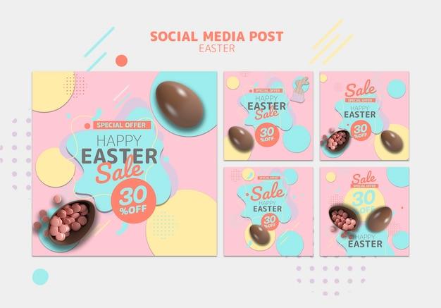 Modello di social media con la vendita del giorno di pasqua Psd Gratuite