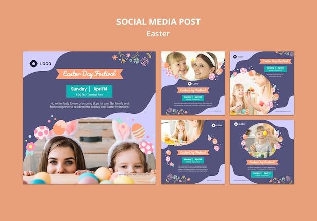 Modello di social media con il giorno di pasqua Psd Gratuite