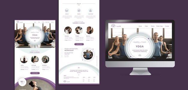 Social media templates with yoga theme Free Psd