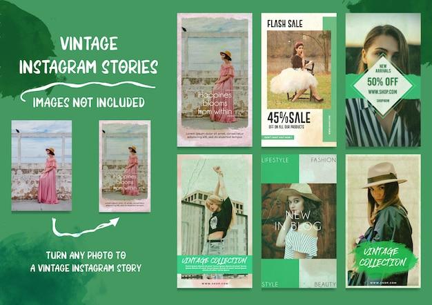 Social media vintage instagram stories bundle Premium Psd