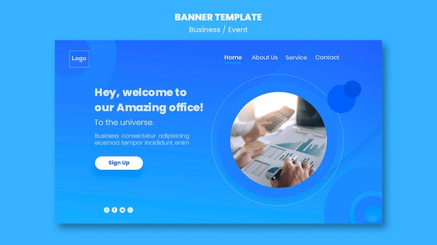 Social media web template for banners Free Psd
