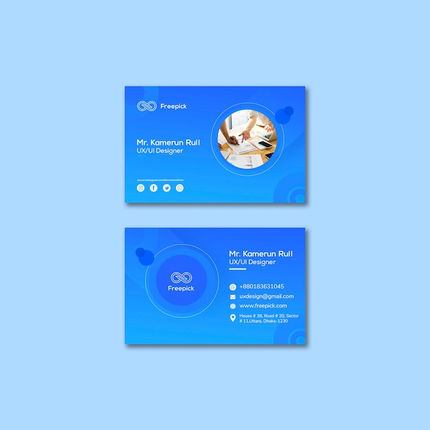 Social media web template for business cards Free Psd