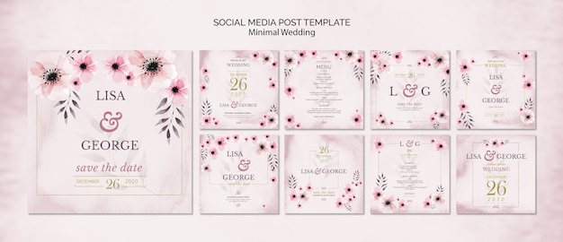 Social media wedding invitation template Free Psd