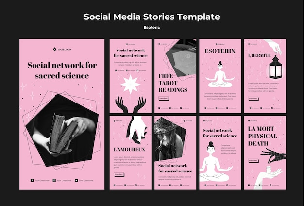 Social network for sacred science instagram stories Free Psd