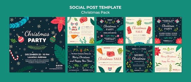 Social post christmas pack template Free Psd