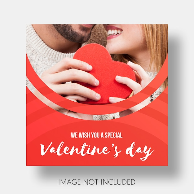 Social template happy valentine's day Free Psd
