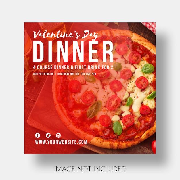 Social template restaurant valentine's day Free Psd