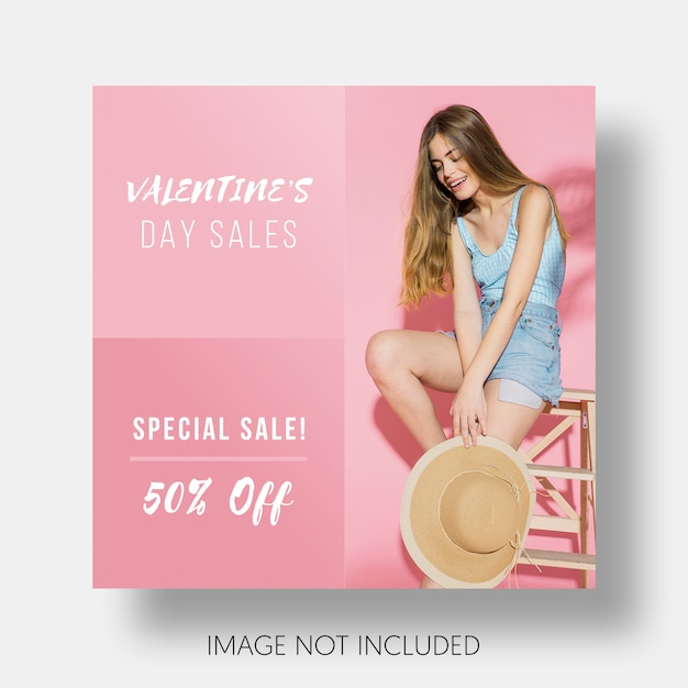 Social template sales valentine's day Free Psd
