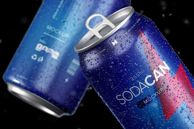 Сода может макет. слоистый макет из алюминиевой банки Premium Psd